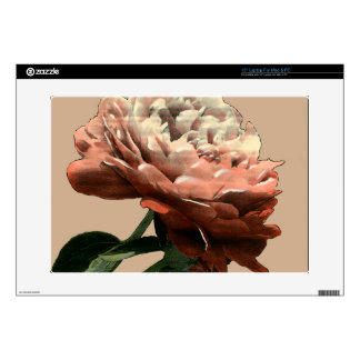 """Ruby Red Rose with White Accents Decal For 15"""" Laptop"""