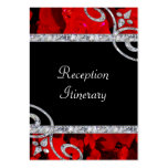 Ruby Red Roses & Diamond Swirls Wedding Business Card Templates