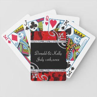 Ruby Red Roses Diamond Swirls Wedding Playing Cards