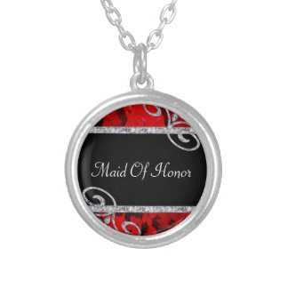 Ruby Red Roses & Diamond Swirls Wedding Silver Plated Necklace