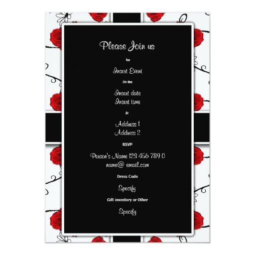 Ruby red roses - wedding invitations customizable