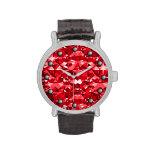 Ruby Red Sparkle Diamonds Wrist Watch