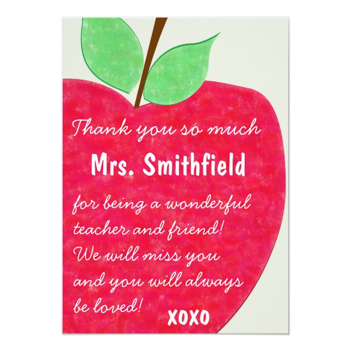 Ruby Red Teacher's Apple Retirement Invite