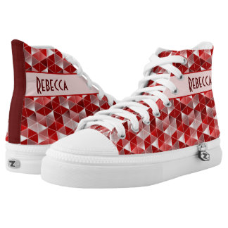 Ruby Red Triangles Pattern Customisable High-Top Sneakers