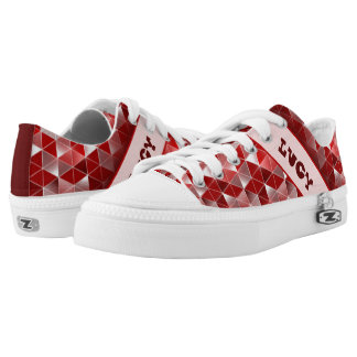 Ruby Red Triangles Pattern Customisable Low-Top Sneakers