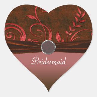 Ruby & Red Velvet Wedding Swirl Heart Sticker
