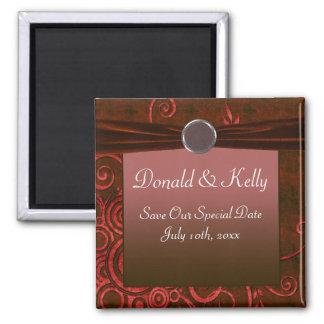 Ruby & Red Velvet Wedding Swirl Magnet