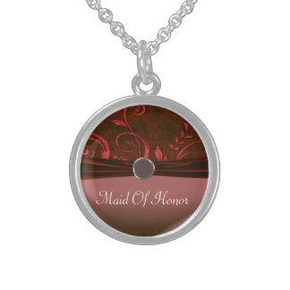 Ruby & Red Velvet Wedding Swirl Sterling Silver Necklace
