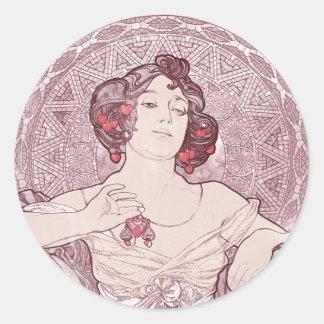 Ruby Red Vintage Art Nouveau Classic Round Sticker