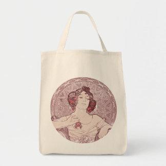 Ruby Red Vintage Art Nouveau Tote Bag