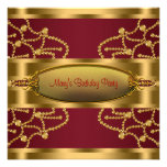 Ruby Red Wine and Burgundy Gold Birthday Party Personalized Invitation