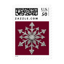 Ruby Red with Silver Tone Snowflake Postage Stamp
