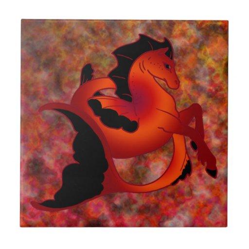 Ruby Sea Horse Ceramic Tiles
