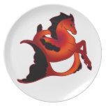 Ruby Sea Horse Dinner Plate
