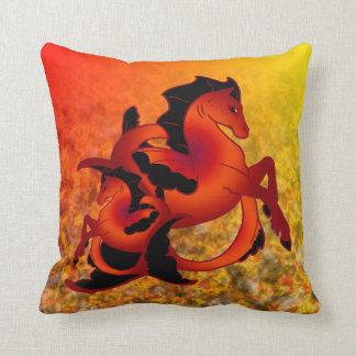 Ruby Sea Horse Throw Pillow