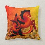 Ruby Sea Horse Throw Pillows