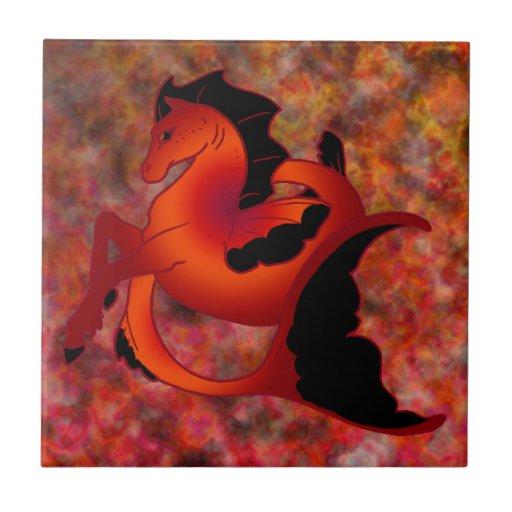 Ruby Sea Horse Tiles