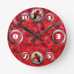 Ruby Seahorse Round Wall Clock
