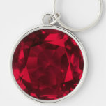 Ruby Silver-Colored Round Keychain