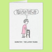 Ruby Slippers Cartoon Birthday Card