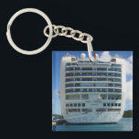 "Ruby Stern View Keychain<br><div class=""desc"">The Stern of the Ruby Princess,  moored dockside at Crown Bay,  St. Thomas,  USVI.</div>"
