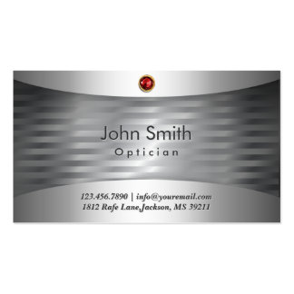 Ruby Stone Steel Optician Business Card