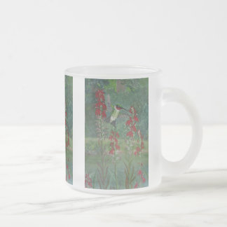 Ruby-throat and Cardinal Flower Frosted Glass Coffee Mug