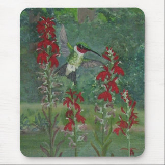 Ruby-throat and Cardinal Flower Mouse Pad