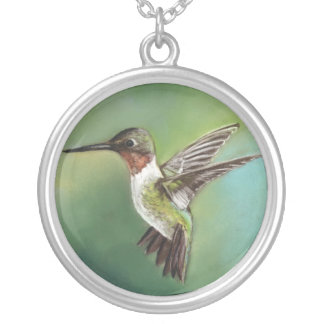 Ruby Throated Humming Bird Art Necklace