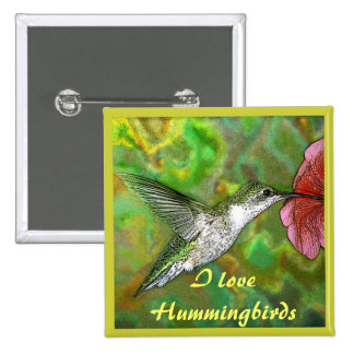 Ruby throated Hummingbird 2 Inch Square Button