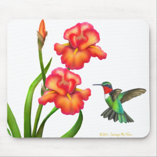 Ruby Throated Hummingbird and Irises Mousepad