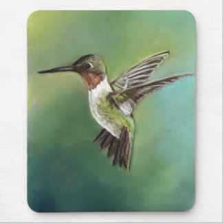 Ruby Throated Hummingbird Art Mouse Pad