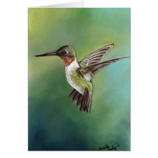 Ruby Throated Hummingbird Bird Art Notecard