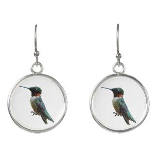 Ruby-Throated Hummingbird Bird Photography Earrings