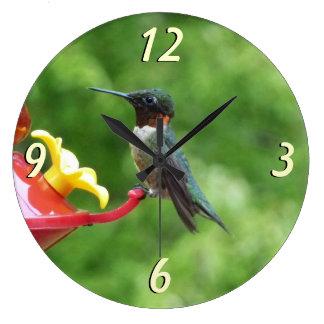 Ruby-Throated Hummingbird Bird Photography Large Clock