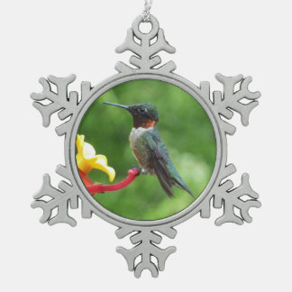 Ruby-Throated Hummingbird Bird Photography Snowflake Pewter Christmas Ornament