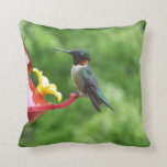 Ruby-Throated Hummingbird Bird Photography Throw Pillow