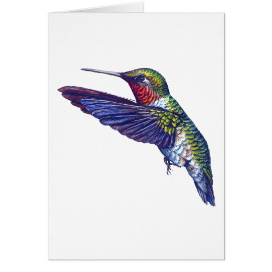 Ruby Throated Hummingbird Card