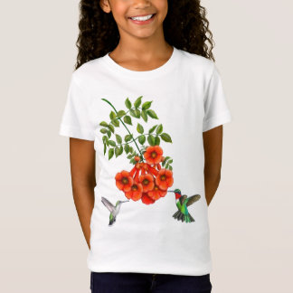 Ruby Throated Hummingbird Couple on Trumpet Vines T-Shirt