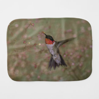 Ruby Throated Hummingbird drinking from a flower Baby Burp Cloth