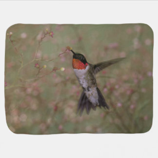 Ruby Throated Hummingbird drinking from a flower Swaddle Blanket