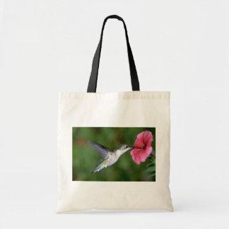 Ruby-throated Hummingbird (female) with petunia Tote Bag