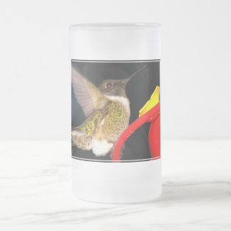 Ruby-Throated Hummingbird Frosted Glass Beer Mug