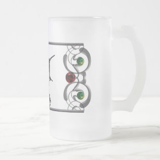 Ruby Throated Hummingbird Frosted Glass Beer Mug