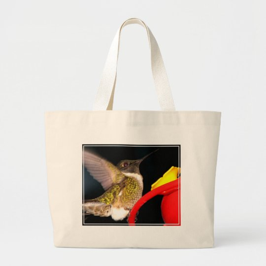 Ruby-Throated Hummingbird Large Tote Bag