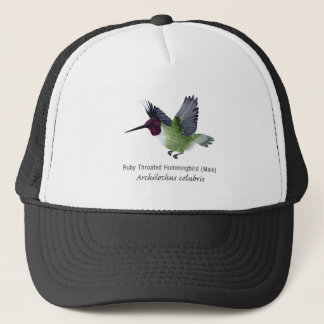 Ruby Throated Hummingbird Male with Name Trucker Hat