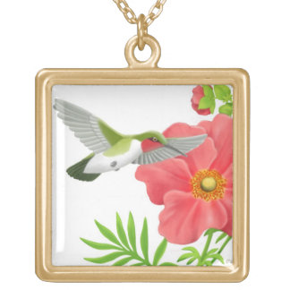 Ruby Throated Hummingbird Necklace