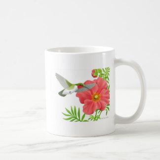 Ruby Throated Hummingbird on Geum Flower Coffee Mug