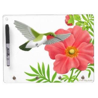 Ruby Throated Hummingbird on Geum Flower Dry Erase Dry Erase Board With Keychain Holder