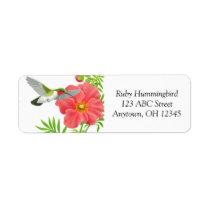 Ruby Throated Hummingbird on Geum Flower Label